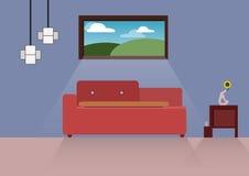 Huisontwerp, binnenlands huis, vlakke stijl, binnen, Huis Royalty-vrije Stock Foto