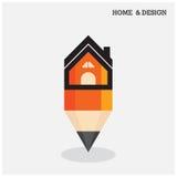 Huispictogram en potloodsymbool in vlakke ontwerpstijl Stock Afbeelding