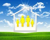 Huispictogram met familiesymbool Stock Foto