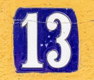 Huisplaat nummer dertien Stock Fotografie