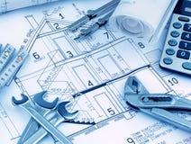 Huisplan met calculator Royalty-vrije Stock Fotografie