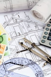 Huisplan met calculator Royalty-vrije Stock Afbeeldingen
