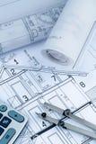 Huisplan met calculator Royalty-vrije Stock Foto