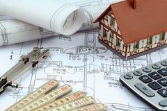 Huisplan met calculator Royalty-vrije Stock Afbeelding