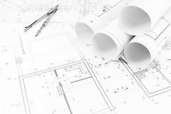 Huisplannen en tekeningskompas Royalty-vrije Stock Afbeeldingen