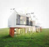 Huisproject bij gazon het 3d teruggeven Stock Foto's