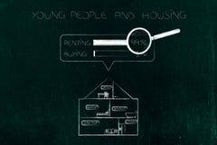 Huissectie met huisvestingsonderzoek boven het en 99 percent van pe royalty-vrije illustratie