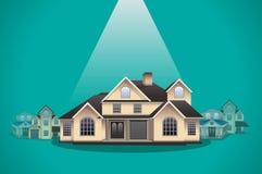 Huisselectie, de vectorillustratie van het onroerende goederenconcept Stock Afbeelding
