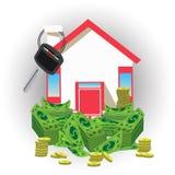 Huissleutel met geld een pictogram een rood dak royalty-vrije illustratie