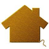 Huissymbool van gebreide die stof op witte B wordt geïsoleerd Stock Foto