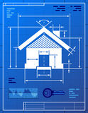 Huissymbool zoals blauwdruktekening Stock Foto