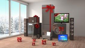 Huistoestel met linten en kortingen in binnenland 3d illust royalty-vrije illustratie