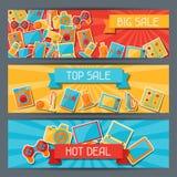 Huistoestellen en elektronika horizontale banners stock illustratie