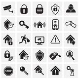 Huisveiligheid op vierkantenachtergrond die wordt geplaatst royalty-vrije stock fotografie