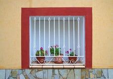 Huisvenster met bars en bloemen Royalty-vrije Stock Afbeeldingen