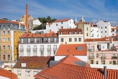 Huisvest Daken in Alfama - Lissabon royalty-vrije stock afbeelding