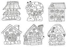 Huisvest linework Handtekening die voor stikers of druk wordt geplaatst vector illustratie