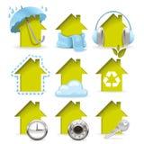 Huisvestingspictogrammen Stock Afbeelding