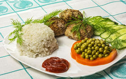 Huisvoedsel Koteletten met gekookte rijst en groenten Royalty-vrije Stock Foto