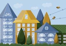 Huisvoorgevel met vensters stock illustratie