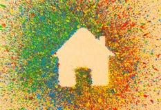 Huisvorm over kleurrijke plonsen Royalty-vrije Stock Fotografie