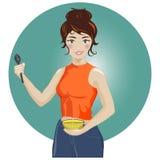 Huisvrouw of de kok die van de damechef-kok een lepel en een kom houden vector illustratie