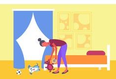 Huisvrouw die haar moeder opnemen die van het kinderenspeelgoed jonge geitjes verzamelen die moderne de flatslaapkamer plaything  stock illustratie