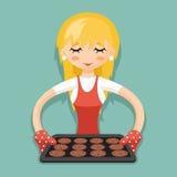 Huisvrouw met baksel en van het koekjesbeeldverhaal de vectorillustratie van het karakterontwerp Stock Foto