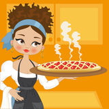 Huisvrouw met cake Stock Foto's