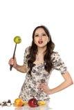 Huisvrouw met een mes Royalty-vrije Stock Foto