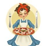 Huisvrouw met pizza Royalty-vrije Stock Afbeeldingen
