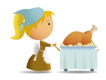 Huisvrouw in thanksgiving day stock illustratie