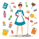 Huisvrouwenmeisje en pictogram van het huis het schoonmakende materiaal in vlakke stijl vectorillustratie Stock Fotografie