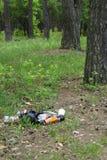 Huisvuil in bosmensen illegaal geworpen huisvuil in bosconcept de mens en aard Onwettige huisvuilstortplaats in aard vuil stock foto's