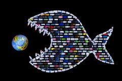 Huisvuil die onze wereldoceanen en aarde vernietigen royalty-vrije illustratie