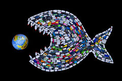 Huisvuil die wereldoceanen en aarde vernietigen - concept Stock Foto's