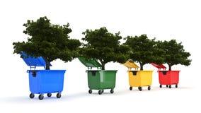 Huisvuilcontainers met boom Stock Afbeeldingen