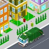 Huisvuilverwijdering met Isometrische Mensen en Stadsvuilnisauto royalty-vrije illustratie