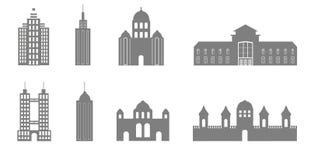 Huit bâtiments noirs et blancs Photos libres de droits