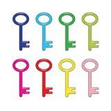 Huit brillants, clés colorées lumineuses Photo libre de droits