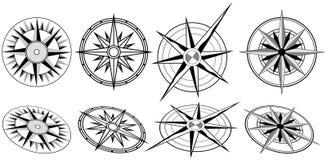 Huit compas noirs et blancs illustration stock