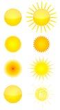 Huit graphismes du soleil Images libres de droits