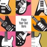 Huit guitares encadrent cet espace blanc Photographie stock libre de droits