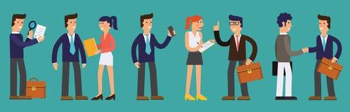 Huit illustrations des hommes d'affaires réussis de personnage de dessin animé Photographie stock