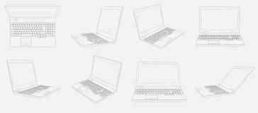 Huit images des ordinateurs portables 3D sur le fond blanc Images libres de droits