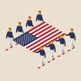 Huit personnes tiennent le grand drapeau des Etats-Unis Images stock