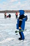 Huitième championnat de pêche de glace du monde dans la région de Kharkiv, Ukraine les 5-6 février 2011 Images stock