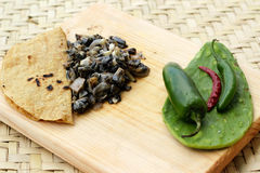 Huitlacoche, tortillas and nopals. Photograph of a tortilla, some traditional mexican huitlacoche and nopals on a wood cutting board Royalty Free Stock Images
