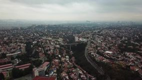 Aerial drone view of new residential area of Mexico City suburbs