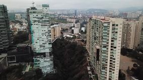 Aerial drone view of new residential area of Mexico City suburbs stock footage